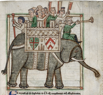 British Library, Harley 3244, Men on elephant